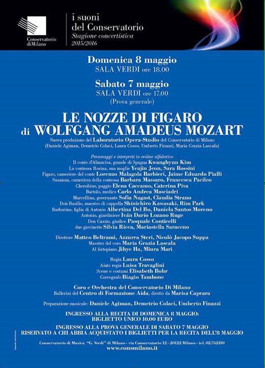 Conservatorio di Milano: Sala Verdi  LE NOZZE DI FIGARO