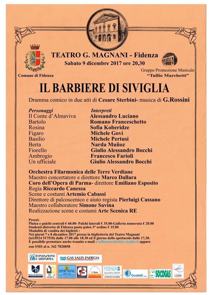 Fidenza  IL BARBIERE DI SIVIGLIA – Gioacchino Rossini, 9 dicembre 2017